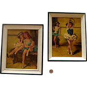 "SALE NICE PRICE! Mid-Century Ballerina Framed-Reprint Duo: By ""Cydney"""