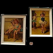 "SALE NICE PRICE! Mid-Century Ballerina Framed-Reprint Duo: By ""Cydney"""