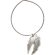 SALE Huge, Outré Clear-Lucite Birds Pendant Necklace: Reverse-Carved