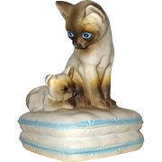SALE PENDING Siamese Mama & Kitten Siamese Cats Music Box: 1982: Made in Japan