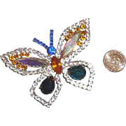 SALE NICE PRICE!  Big, Beautiful Butterfly Brooch: Signed: Aurora-Borealis Rhinestones