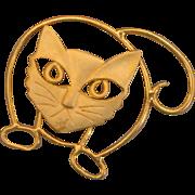 SALE NICE PRICE!  Big Modernist Cat Brooch