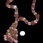 SALE Beauteous Aurora-Borealis Crystal & Filigree Tassel Necklace
