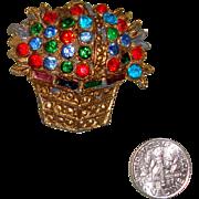 SALE NICE PRICE!  C. 1940s Flowers in Basket Brooch