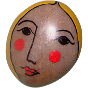 SALE NICE PRICE! Lady Face Brooch: Handpainted on Highly Polished Stone: Signed Folk Art