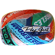 "SALE Chunky Collage Travel Bracelet:  City Names & Planes: ""Fly Girl"""