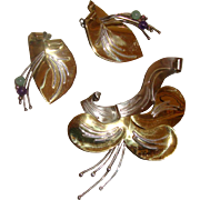 SALE RUTH ROSENFELD Modernist Large Brooch & Earrings: Floral Figurals: Mixed-Colored Metal