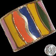 SALE NICE PRICE!  Big Wavy, Multi-Colored Cuff Bracelet: Mod Styling