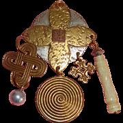 Big MARJORIE BAER Modernist Brooch: Mixed Metals: Signed