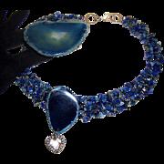 Phenomenal Lapis-Colored Glass Quartz Necklace & Bracelet