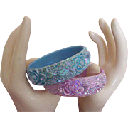 SALE Carved Flower Bangle Bracelet Duo:  Iridescent!