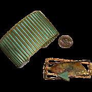 SALE Modernist Brooch & Cuff Bracelet: Mixed Metals & Verdigris Coloring