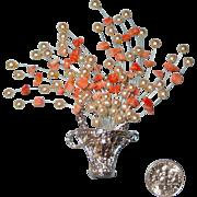 SALE NICE PRICE!  Large Flowers-in-Basket Brooch: Tussie Mussie Style