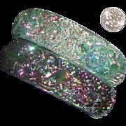 "SALE Plastic Watermelon ""Glass"" Bangle Bracelet Duo: Luminous Carved Flowers"