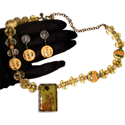 SALE Geisha in Shadow Box Demi-Parure: Necklace & Earrings