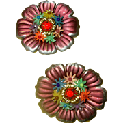 SALE NICE PRICE! Charming Czech Tin-Flower Scatter-Pin Duo