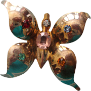 SALE NICE PRICE! Big Butterfly Brooch: C. 1940s