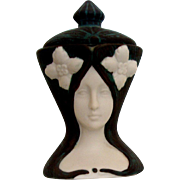 Bisque Lady Face Figurine: Quon Quon of Japan: Trinket - Jewelry Holder: 1981: Art Nouveau ...