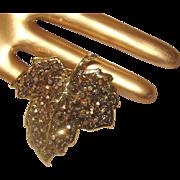 SALE Gorgeous Bronze Gold-Aurum-Glass Stones WEISS Brooch: Leaf Figural