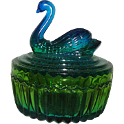 Jeanette Glass Swan Powder Jar or Trinket Bowl: Blue-Green Amberina