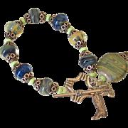 SOLD Lemon Chrysoprase & Boro Lampwork Charm Bracelet by Pilula Jula 'Shakin'