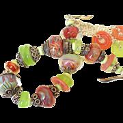 SOLD Lemon Chrysoprase  Boro Charm Bracelet  by Pilula Jula 'Crimson & Clover'