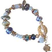 SOLD Angelite Boro Angelfish Charm Bracelet by Pilula Jula 'Goin Away Blues'