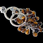 SOLD Cluster Hoop Earrings with Tigereye by Pilula Jula  'Harmonium' - Red Tag Sale Item
