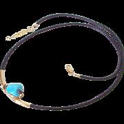 Sleeping Beauty Turquoise & Diamond Drusy Leather Necklace by Pilula Jula 'Pyramids'