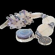 SOLD Chalcedony Fluorite & Drusy Quartz Bracelet by Pilula Jula 'Moon Maiden'