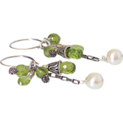 SOLD Peridot & Cultured FW Pearl Earrings by Pilula Jula 'You're The Spark'