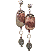 SOLD Apache Red Flower Jasper & Garnet Earrings by Pilula Jula 'Coloured Rain' - Red Tag Sale