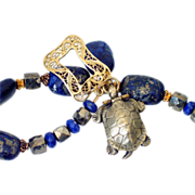 Lapis Pyrite & Opening Turtle Charm Bracelet by Pilula Jula 'Too Hot to Sleep'