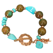 Sleeping Beauty & Hubei Mine Turquoise Tassel Bracelet by Pilula Jula 'Old Cypress Tree'