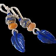 SOLD Lapis Leaf Aragonite & Lampwork Earrings by Pilula Jula 'On The Border'