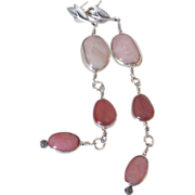 Morganite Rhodochrosite & Peruvian Opal Earrings by Pilula Jula 'Rose Queen II'