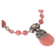 SOLD Rhodochrosite Pendant Necklace by Pilula Jula 'Rose Queen'
