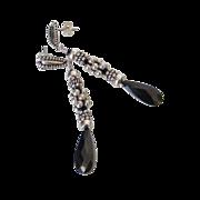 Black Cubic Zirconia & Swarovski Crystal Elements Earrings by Pilula Jula 'Midnight Flyer'