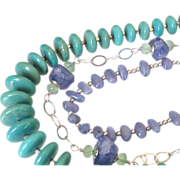 SOLD Turquoise & Tanzanite Triple Strand Necklace by Pilula Jula 'Relentless'