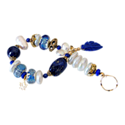 SOLD Cultured Freshwater Pearl, Lapis & Lampwork Bracelet by Pilula Jula 'Time & Space'