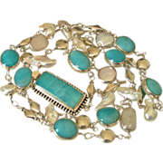 SOLD Peruvian Amazonite & Cultured Freshwater Pearl Body Necklace by Pilula Jula 'Lady on the