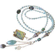SOLD Paua Shell & Cultured Freshwater Pearl Lariat Necklace by Pilula Jula 'Both Sides Now'