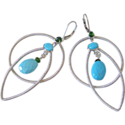 Gem Sleeping Beauty Turquoise & Chrome Diopside Original Earrings by Pilula Jula 'Dancing With