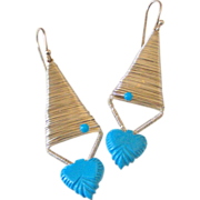 Carved Turquoise Original Earrings by Pilula Jula 'Zero Below'
