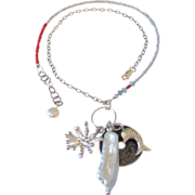 SOLD Japanese Saltwater Keishi Pearls & Charm Necklace by Pilula Jula 'Oceans Apart'