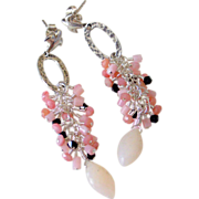 Pink Peruvian Opal Tassel Earrings by Pilula Jula ' Wild 4 Ever I'