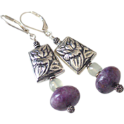 SOLD Russian Charoite & Jade Earrings by Pilula Jula 'Thrill of It All'