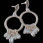 SOLD Aquamarine & Blue Topaz Hoop Earrings by Pilula Jula 'Opinions'
