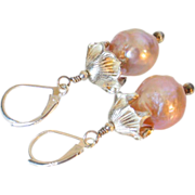 Cultured Akoya Pearl Earrings by Pilula Jula 'Fire Lilies'