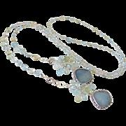 SOLD Long Beryl Gemstone Lariat Necklace by Pilula Jula 'Air Balloons'